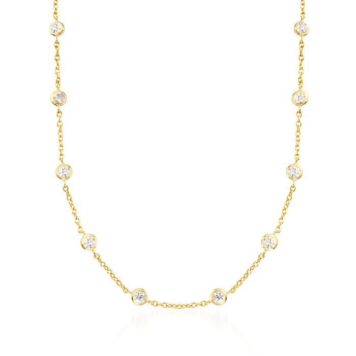 4.50 ct. t.w. CZ Station Necklace in 18kt Yellow Gold Over Sterling, , default
