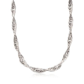 """Italian Sterling Silver Twisted Multi-Link Necklace. 18"""", , default"""