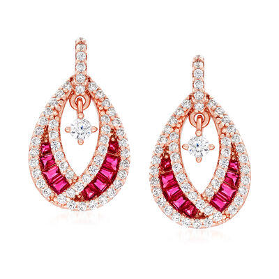 .60 ct. t.w. CZ and .30 ct. t.w. Simulated Ruby Teardrop Earrings in 18kt Rose Gold Over Sterling