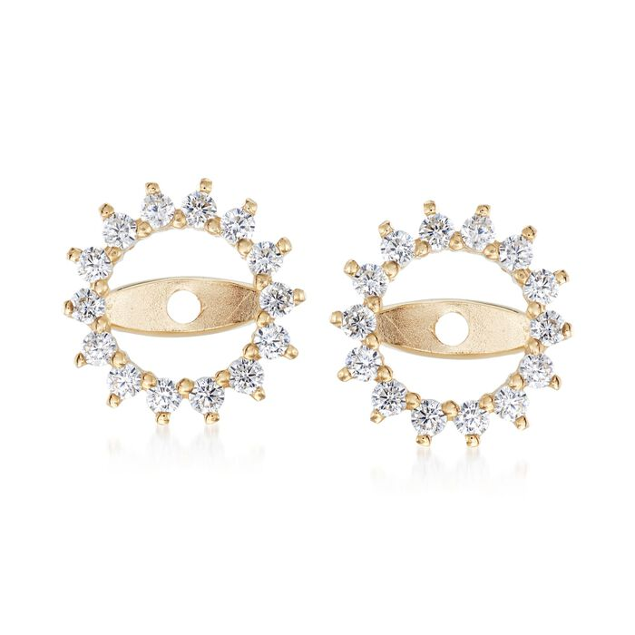 .25 ct. t.w. CZ Starburst Earring Jackets in 14kt Yellow Gold