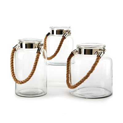 "Set of 3 ""Clear View"" Rope-Handled Lanterns, , default"