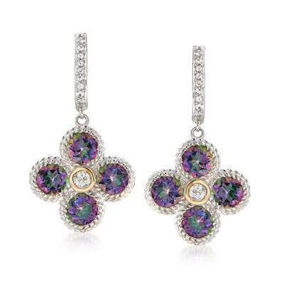 4.90 ct. t.w. Mystic Quartz and .60 ct. t.w. White Topaz Drop Earrings in Sterling and 14kt Gold, , default