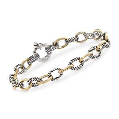 "Phillip Gavriel ""Italian Cable"" Sterling Silver and 18kt Gold Cable-Link Bracelet, , default"