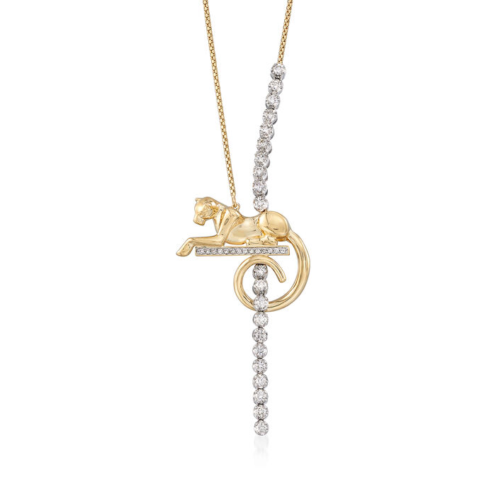 1.05 ct. t.w. Diamond Puma Lariat Necklace in 14kt Two-Tone Gold