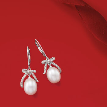 9-9.5mm Cultured Pearl and .15 ct. t.w. Diamond Bow Drop Earrings in Sterling Silver, , default