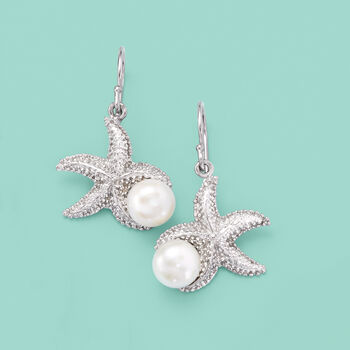 8-8.5mm Cultured Pearl Starfish Earrings in Sterling Silver