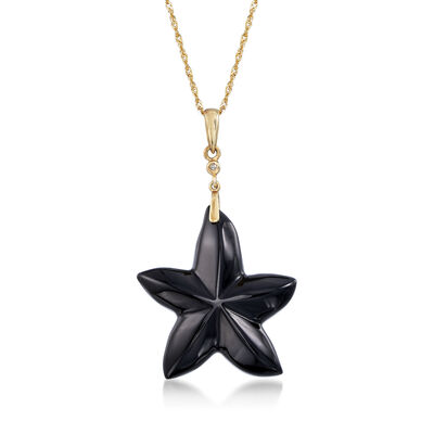 23mm Onyx Star Pendant Necklace in 14kt Yellow Gold, , default