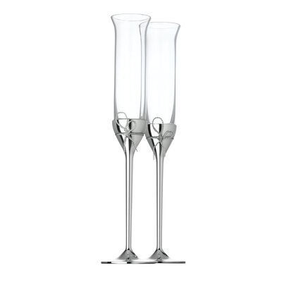 "Vera Wang for Wedgwood ""Love Knots"" Silver Toasting Flutes, , default"