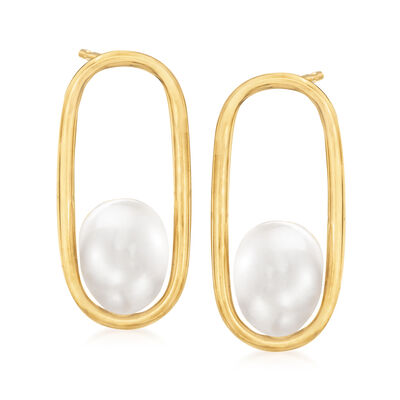 7-8mm Cultured Pearl Open-Space Oval Earrings in 14kt Yellow Gold