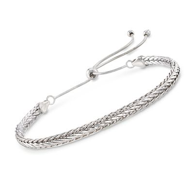 Sterling Silver Flat Wheat Chain Bolo Bracelet, , default