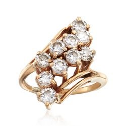 C. 1980 Vintage 2.00 ct. t.w. Diamond Diagonal Cluster Ring in 14kt Yellow Gold. Size 7, , default