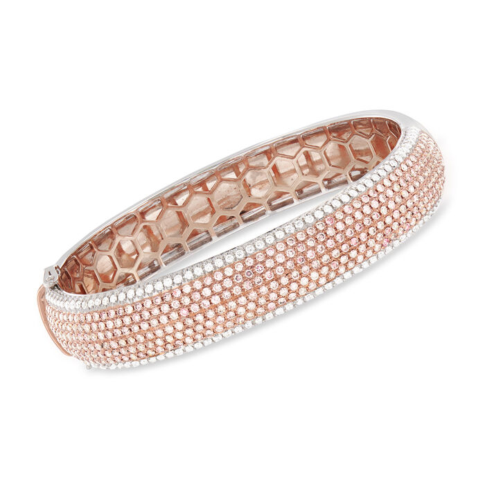 5.10 ct. t.w. Pink and White Diamond Bracelet in 18kt Two-Tone Gold