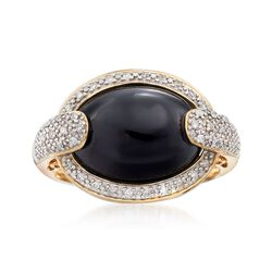 Black Agate and .13 ct. t.w. Diamond Ring in 14kt Yellow Gold, , default