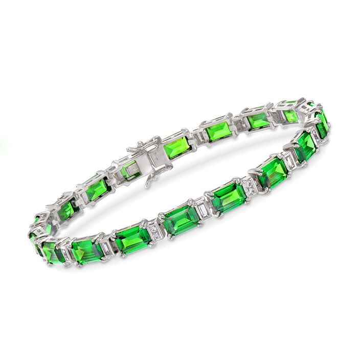 """Simulated Emerald and .90 ct. t.w. CZ Bracelet in Sterling Silver. 7.25"""", , default"""