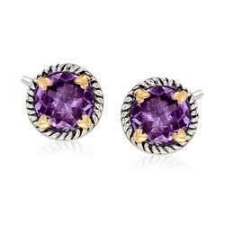 6.75 ct. t.w. Amethyst Rope Frame Earrings With Hearts in Two-Tone Sterling Silver, , default