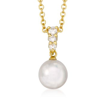 Mikimoto 8mm A+ Akoya Pearl Necklace With .12 ct. t.w. Diamonds in 18kt Yellow Gold, , default
