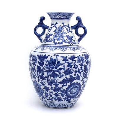"""Euro Ceramica """"Blue Garden"""" Lotus Two-Handled Porcelain Vase, , default"""