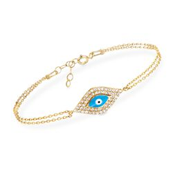 ".50 ct. t.w. CZ and Enamel Bracelet in 14kt Gold Over Sterling. 6.5"", , default"