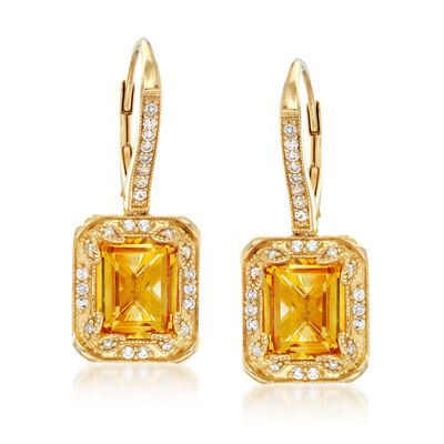 6.00 ct. t.w. Citrine and .30 ct. t.w. White Topaz Earrings with Diamonds in 14kt Gold Over Sterling