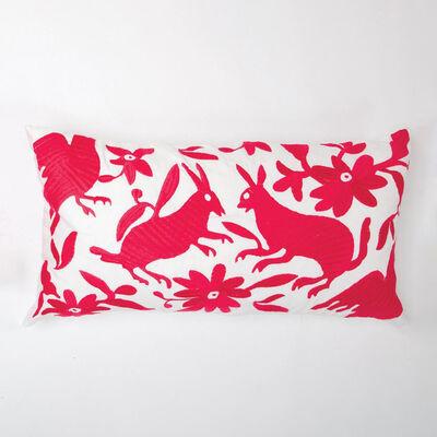 Set of 2 Fuchsia and White Folk Art Lumbar Pillows, , default