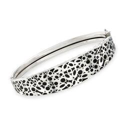 Italian Black Enamel Open Circle Bangle Bracelet in Sterling Silver, , default