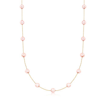 6-6.5mm Pink Cultured Pearl Station Necklace in 14kt Yellow Gold, , default