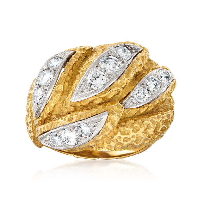C. 1970 Vintage 1.05 ct. t.w. Diamond Dome Ring in 18kt Yellow Gold. Size 5.5