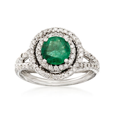 1.00 Carat Emerald and .60 ct. t.w. Diamond Ring in 14kt White Gold, , default