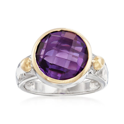 5.75 Carat Amethyst Ring in Sterling Silver and 18kt Gold Over Sterling Silver, , default