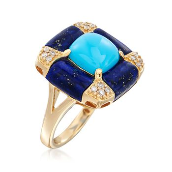 Turquoise and Lapis Ring with .15 ct. t.w. Diamonds in 14kt Yellow Gold, , default