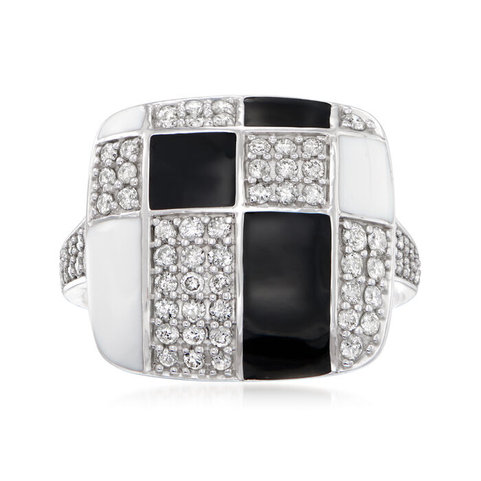 .75 ct. t.w. Diamond and Enamel Geometric Square-Top Ring in Sterling Silver