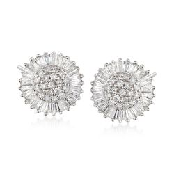 1.00 ct. t.w. Diamond Circle Cluster Stud Earrings in 14kt White Gold, , default