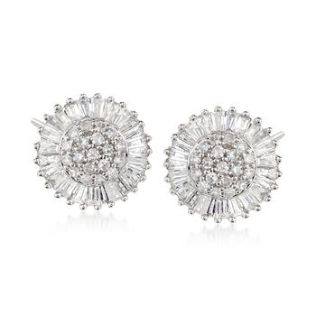 1.00 ct. t.w. Diamond Circle Cluster Stud Earrings in 14kt White Gold  , , default