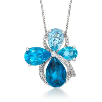 """14.00 ct. t.w. Blue Topaz and .31 ct. t.w. Diamond Necklace in 14kt White Gold Necklace. 16"""", , default"""