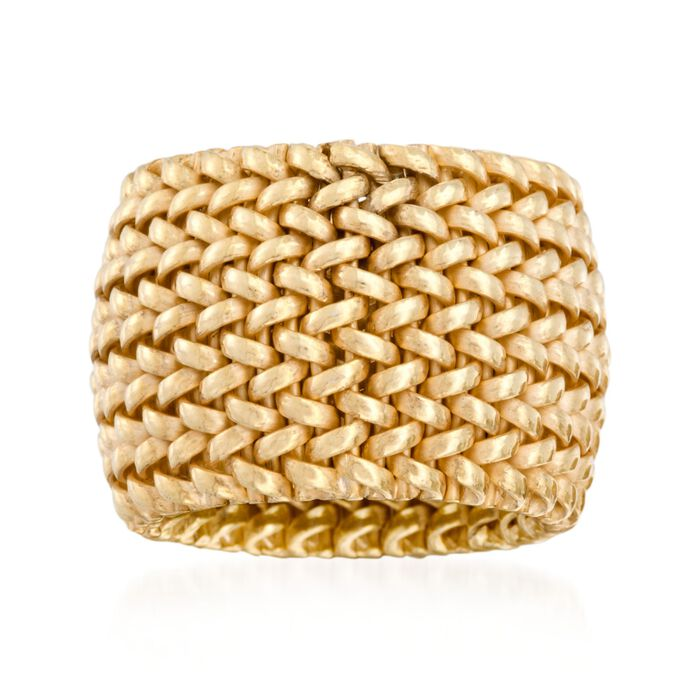 Italian 18kt Yellow Gold Over Sterling Silver Mesh Ring, , default