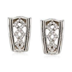 C. 1990 Vintage .26 ct. t.w. Diamond Openwork Curve Earrings in 14kt White Gold , , default