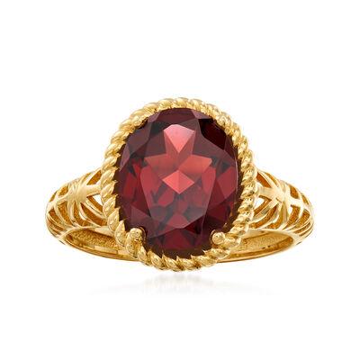 3.40 Carat Garnet Ring in 14kt Yellow Gold