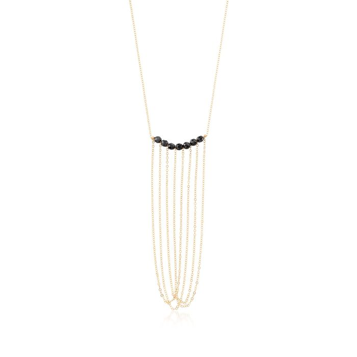 Italian Black Onyx Drop Necklace in 14kt Yellow Gold, , default