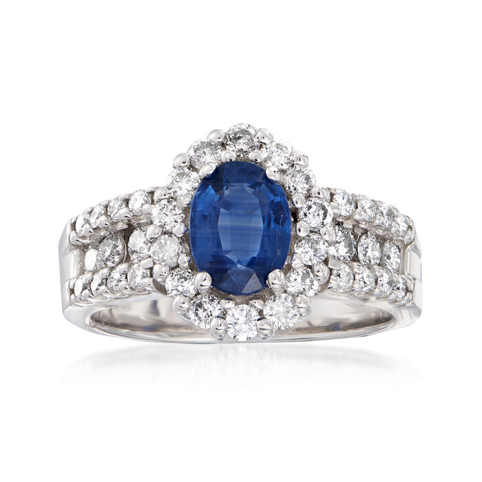 1.50 Carat Sapphire and .90 ct. t.w. Diamond Ring in 14kt White Gold