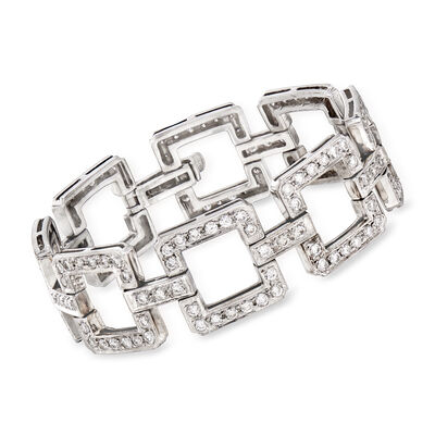 C. 1970 Vintage 9.00 ct. t.w. Diamond Link Bracelet in 14kt White Gold, , default