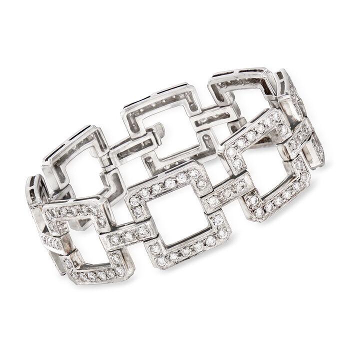 "C. 1970 Vintage 9.00 ct. t.w. Diamond Link Bracelet in 14kt White Gold. 7.25"""
