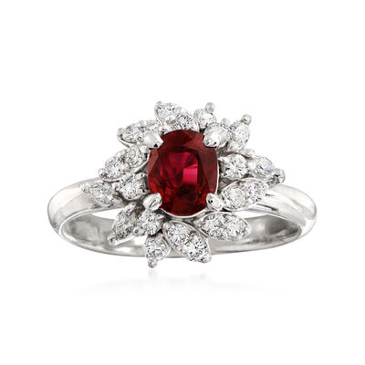 C. 1990 Vintage .90 Carat Ruby and .40 ct. t.w. Diamond Ring in Platinum, , default