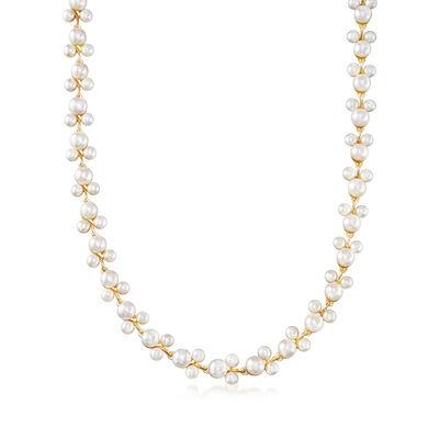 5-7.5mm Cultured Pearl Trio Vine Necklace in 18kt Gold Over Sterling, , default