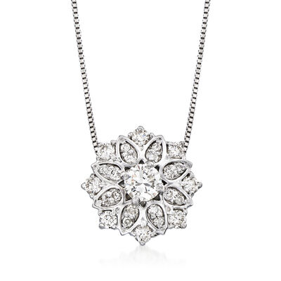 .50ct. t.w. Diamond Floral Pendant Necklace in Platinum, , default