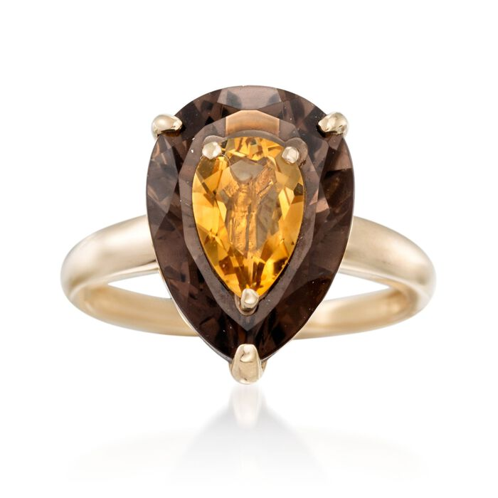 4.00 Carat Smoky Quartz and 1.00 Carat Citrine Ring in 14kt Yellow Gold