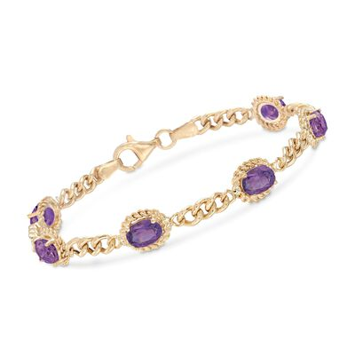 4.40 ct. t.w. Amethyst Link Bracelet in 18kt Gold Over Sterling Silver, , default