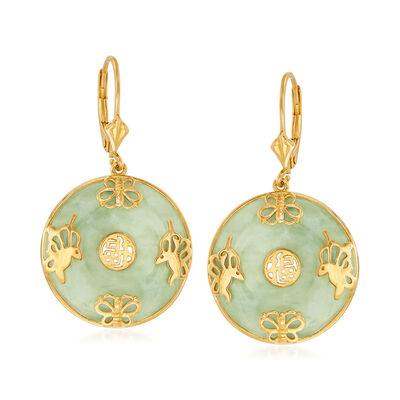 Jade Chinese Symbol Butterfly Drop Earrings in 18kt Gold Over Sterling