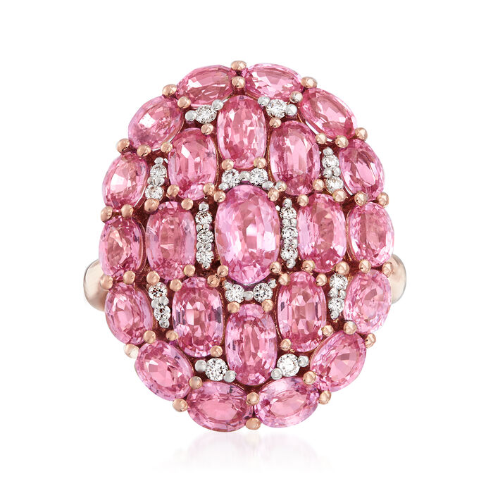 6.40 ct. t.w. Pink Sapphire and .15 ct. t.w. Diamond Ring in 18kt Rose Gold