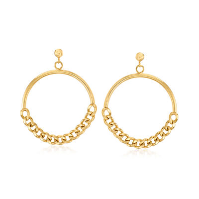 Italian 18kt Gold Over Sterling Curb-Link Chain Circle Drop Earrings, , default