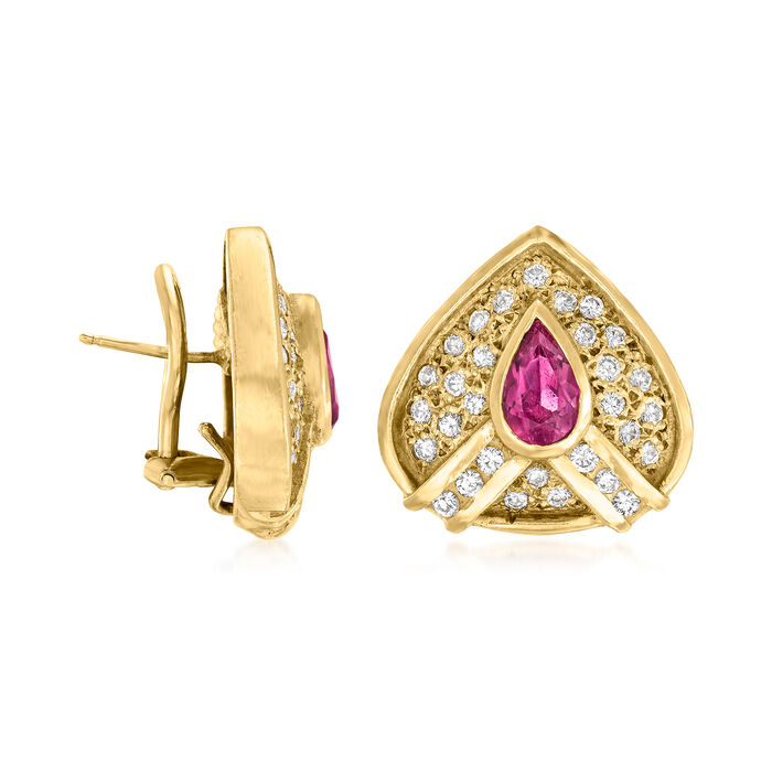 C. 1980 Vintage 1.50 ct. t.w. Pink Tourmaline  and 1.50 ct. t.w. Diamond Earrings in 18kt Yellow Gold